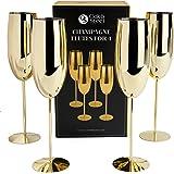 Ek & stål - 4 eleganta champagneglas i rostfritt stål, 285 ml