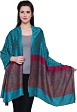 """Fayon Turquoise Woven Traditional Paisley Design Soft Cashmere Pashmina Shawl, Scarves, Stoles, Wraps 80""""X28"""" For Women & Girls"""