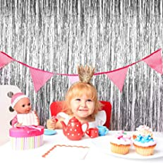 Party Bazz Silver Foil Curtain for Decoration Pack of 3 for Birthday, Wedding, Baby Shower, Anniversaries Decoration [ Height (6 Foot )* Width (3 Foot)]