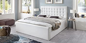 luxus polsterbett mit bettkasten molly xxl kunslederbett doppelbett ehebett wei 140x200cm - Doppelbett Luxus