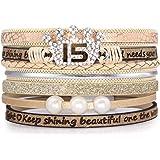 Suyi Cadeaux d'anniversaire pour Femmes Filles Bracelet en Cuir Bracelet à Boucle Magnétique Multicouche Bijoux d'anniversair