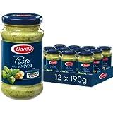 Barilla Pasta Sauce, Genovese Pesto Sauce, Basil Pesto, Authentic Italian Taste, Bulk Pack of 12 x 190 g