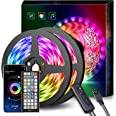 LED Strip Lights 15M Music Sync Color Changing RGB LED Strip 44-Key Remote, Sensitive Built-in Mic, App Controlled LED Lights