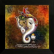 SAF 'Ganesh' Religious Modern Art UV Textured Framed Painting (34 cm x 2 cm x 34 cm)