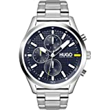 HUGO #CHASE Men's Multifunction Stainless Steel and Link Bracelet Casual Watch, Color: Silver (Model: 1530163)