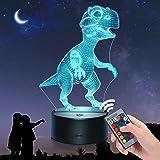 EUCOCO Veilleuse de Dinosaure 3D - 16 Couleurs/Télécommande - Triceratops/Spinosaurus/Tyrannosaurus - Jouets & Cadeaux pour E