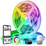DreamColor LED-strip 5 m, TASMOR LED-strip 16,4 ft RGB+IC, LED-strip compatibel met Alexa Google Home APP-bediening, zelfklev