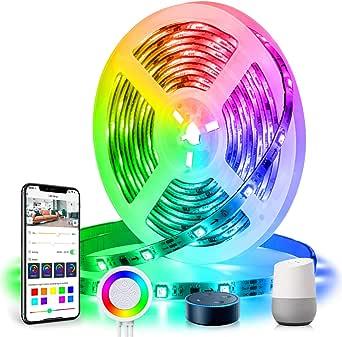 Dreamcolor Striscia LED Musicale Alexa, TASMOR Striscia 5M Wifi Autoadesiva Luminosa, Strisce LED Compatibile con Alexa Echo e Google Home, Nastri Led Illuminazione Flessibile per Interni/Esternisa…