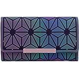 Geometrische Lange Brieftasche und Geldbörse - Mode Leuchtend Trifold Gitter Geldbörse Brieftaschen für Damen NO.3