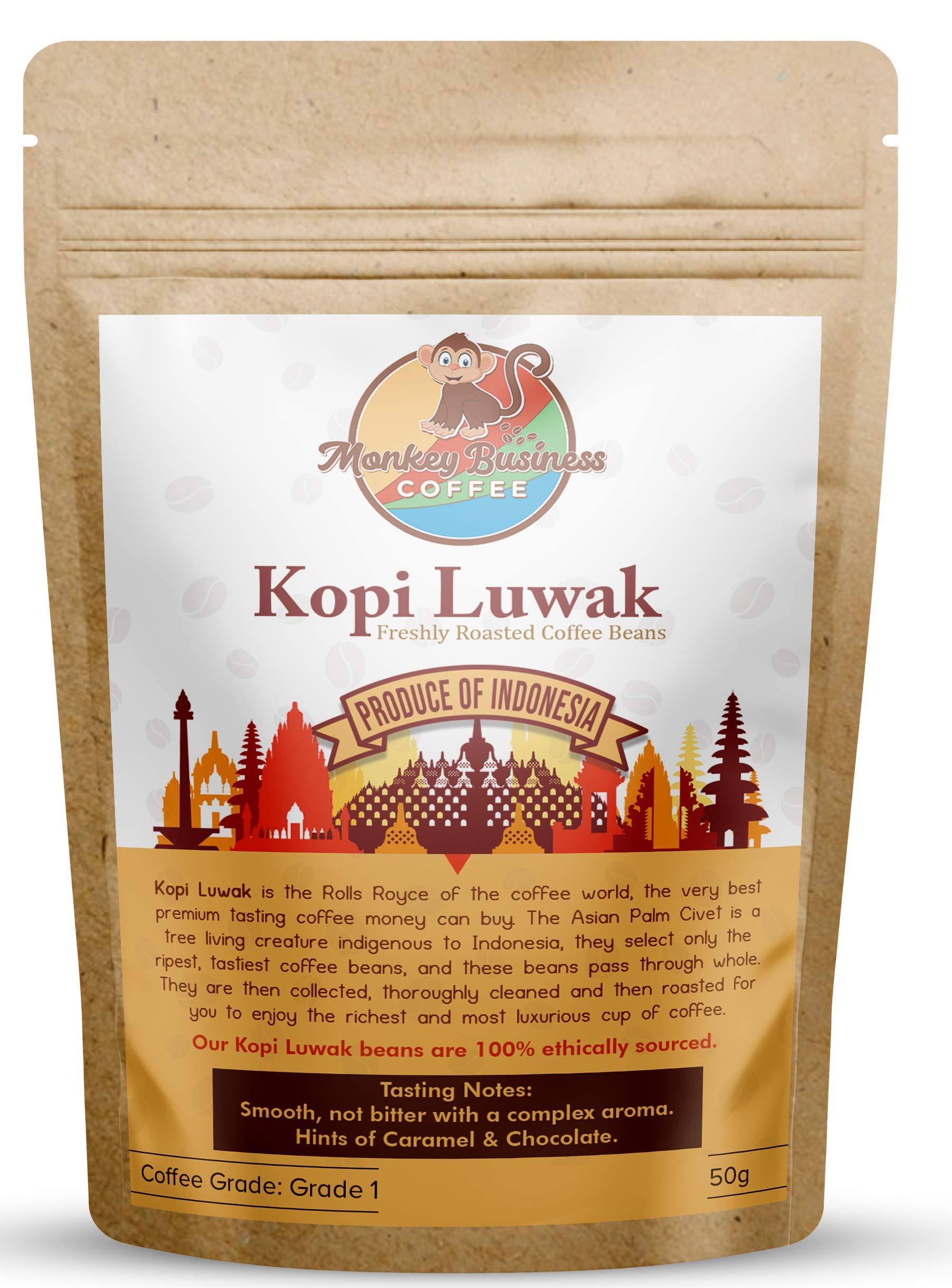 Monkey Business Coffee – Wild Kopi Luwak Coffee Whole Beans – Ethically Sourced – 50 Grams (Other Weights & Bean Types Available) – Produce of Indonesia