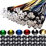 RUNCCI-YUN 60Pcs 5mm Luces LED de Diodo 12V DC Pre Wired LED Diodos Emisores de Luz Lámpara, con Cables de 20cm + 60Pcs 5mm P
