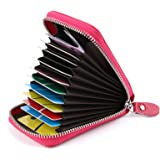 Credit Card Holders Women Ladies Leather Credit Card Wallets for Women Credit Card Holder Women RFID Protector (Rose Red)