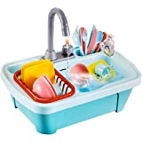 Popsugar Premium Pretend Play Kitchen Sink Toys, Electric Dishwasher with Automatic Running Water System Wash Up Kitchen Toys