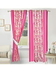 Red Ribbon Fancy Floral Eyelet Single 1 Piece Pink Polyester Curtain,Window 5 Feet