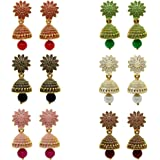 Fresh Vibes Multicolour Traditional Non-Precious Metal Gold Plated Earring for Women -Pack of 6