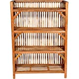 HM Services Bamboo Cane (Bait) Strong Shoe Rack Wooden Slipper Stand Utility Rack Planter Stand Bookshelf Space Saving Shelf