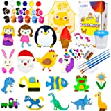 30 Wood Arts and Crafts for Kids - Paint Your Own Wooden Magnet, Painting Craft Kit and Art Set for Kids, Christmas Crafts Su