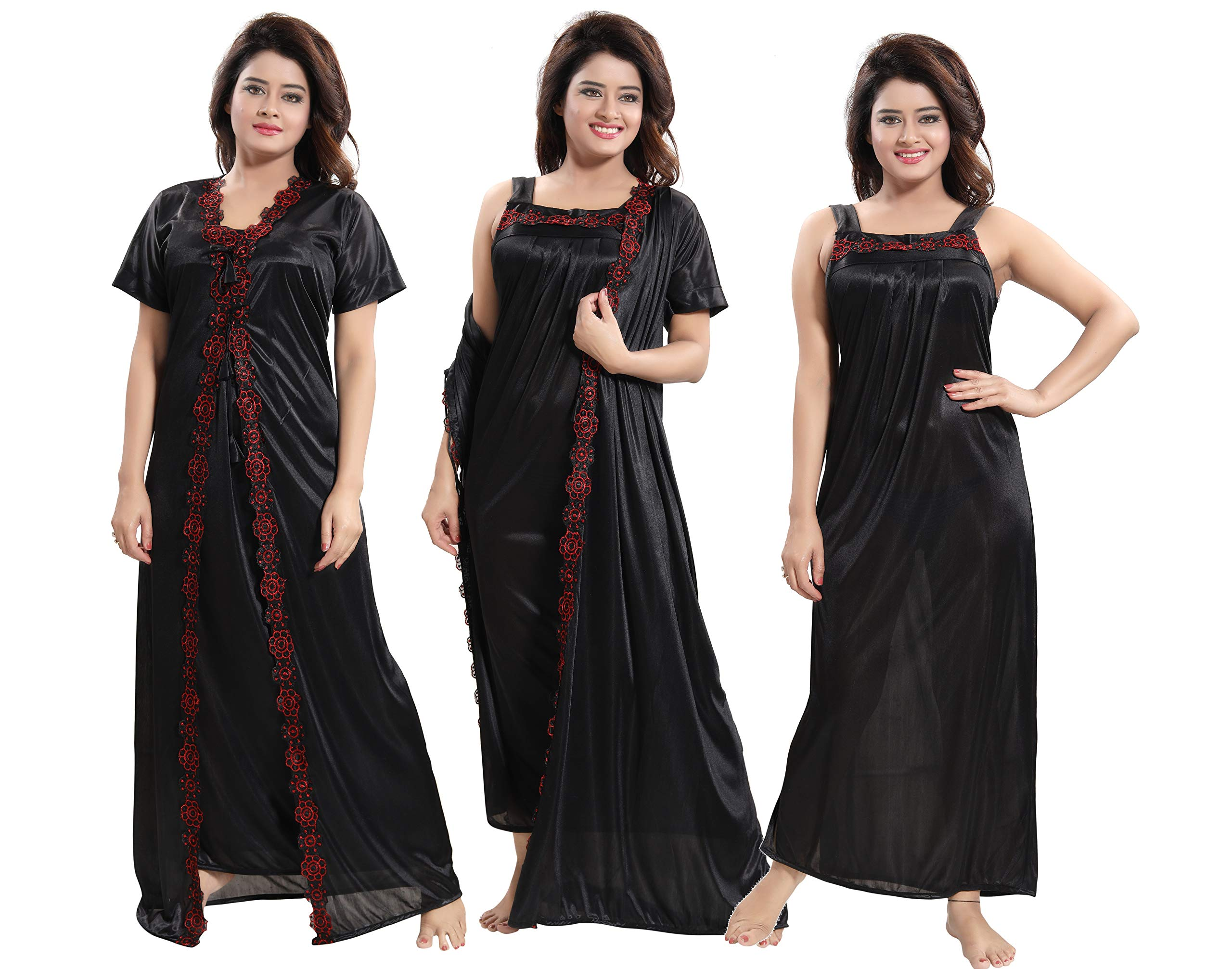 96c05f3c7b TUCUTE Women's 2pcs Nighty/Nightdress/Nightwear (Gown & Robe) Size ...
