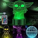 Veilleuse Star Wars 3D Illusion pour enfants, décor Orenic 4 motifs et 16 couleurs changeantes Lampe avec télécommande pour c