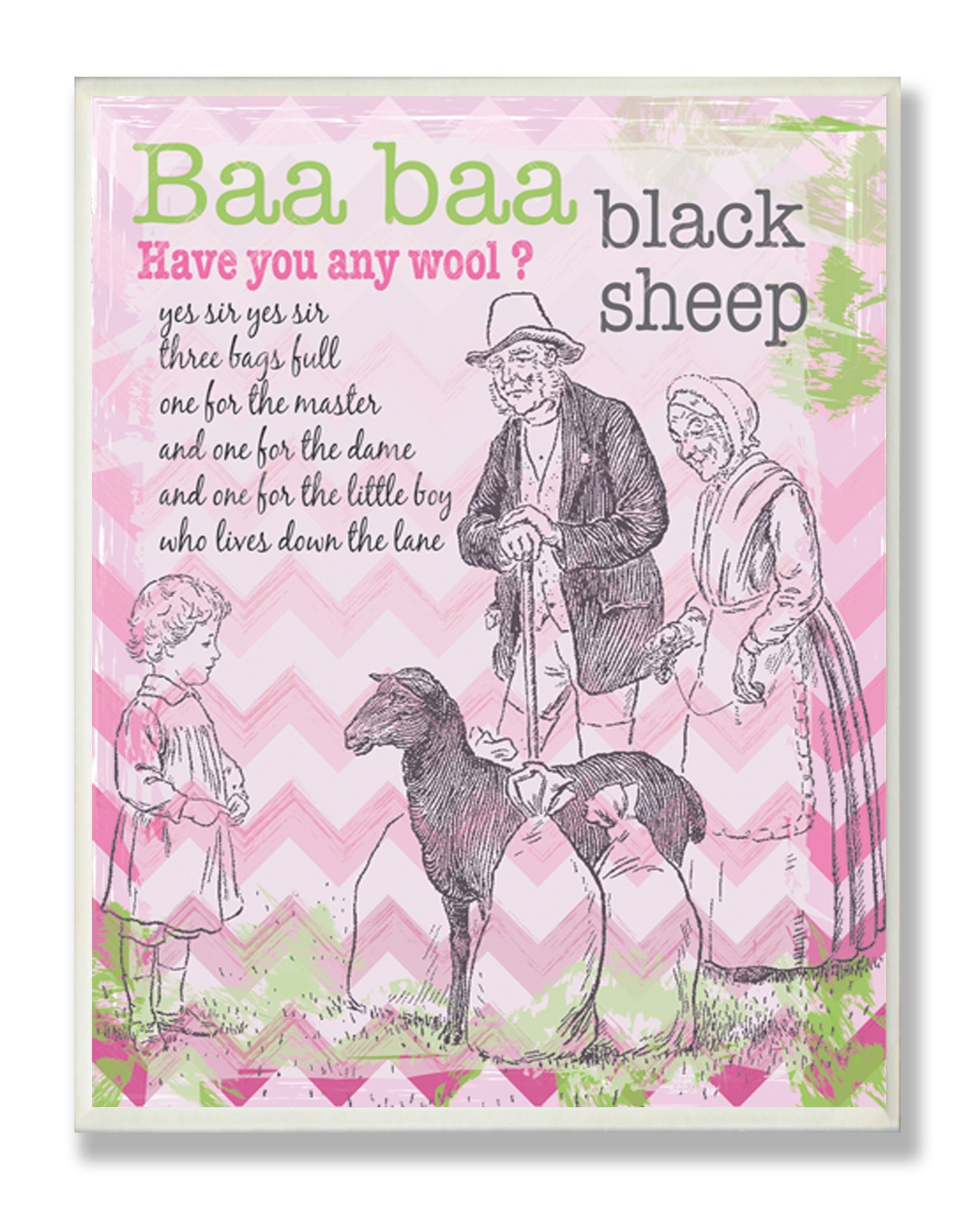 La stanza dei bambini da Stupell Baa Baa Nero Sheep Nursery Rhyme su sfondo rosa Chevron Placca da