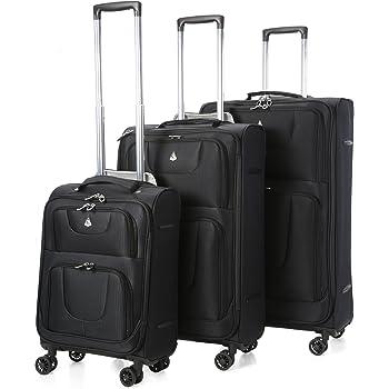 """Aerolite Super Lightweight 8 Wheel Spinner Luggage Suitcase Travel Trolley Cases (Black, 21"""" Cabin + 26"""" + 29"""", 3 Piece Set)"""