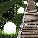 6x LED Außen Solar Steck Leuchten Erdspieß Balkon Kugel