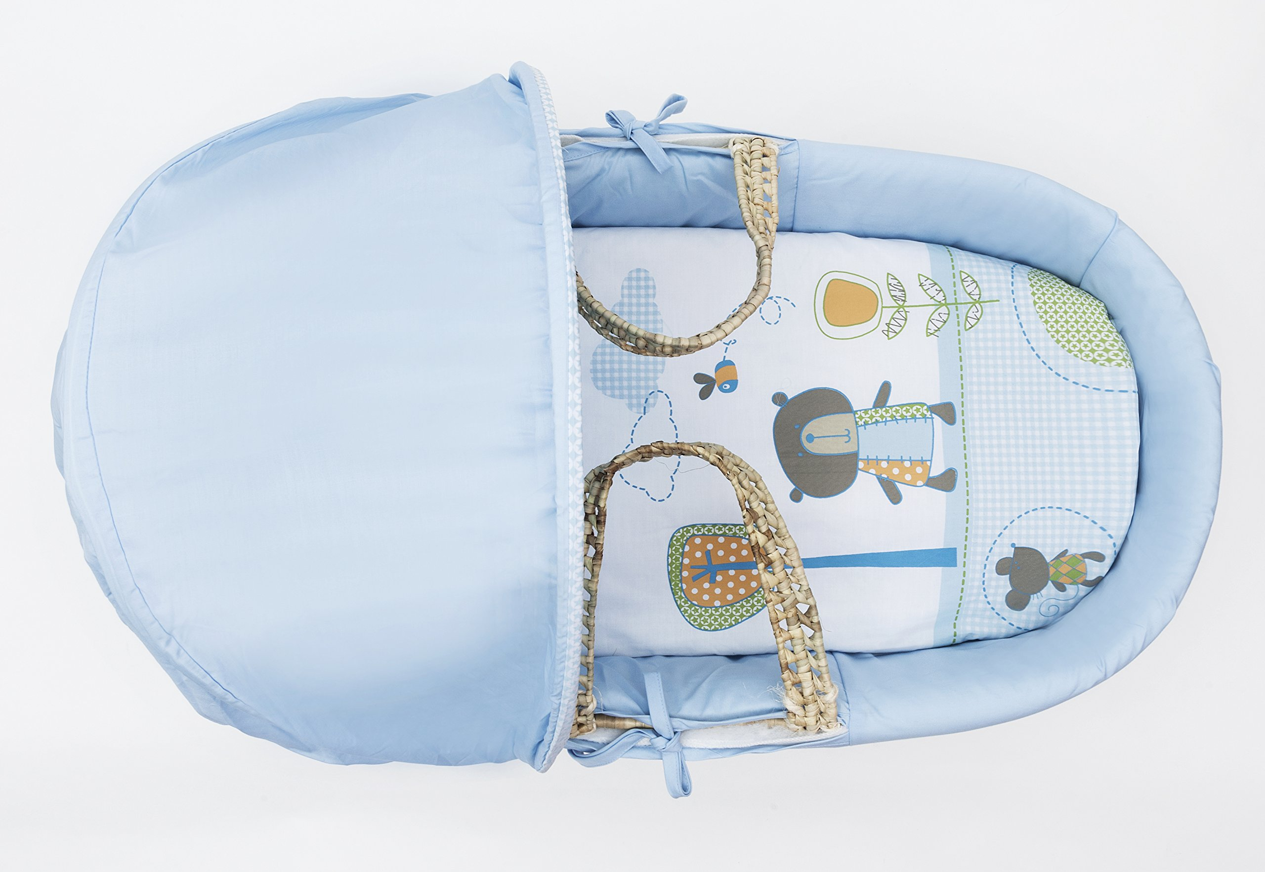 Beary Nice Blue Palm Moses Basket Padded Elegant Baby Suitable from newborn for up to 9kg, this Moses Basket uses Easy-care Poly Cotton with a soft padding surround Suitable from newborn to 9 months It also includes a comfortable mattress and an adjustable hood perfect to create a cosy sleeping space for your precious little one 3