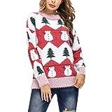 Hawiton Jersey de Mujer Navidad, Manga Larga suéter de Punto niño con Cuello Redondo,Pullover Navidad de Nieve/Ciervo/Estampa