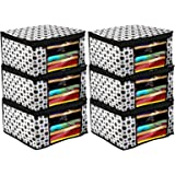 Kuber Industries Polka Dots Design 6 Piece Non Woven Fabric Saree Cover/Clothes Organiser for Wardrobe Set with Transparent W