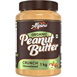 Alpino Organic Natural Peanut Butter Crunch 1 KG | Unsweetened | Made with 100% Roasted Organic Peanuts | 30% Protein | No Ad