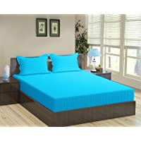 """Trance Home Linen 100% Cotton 210 TC King Fitted Bedsheet 78"""" * 72"""" with 2 Pillow Covers (Aqua Turquoise)"""