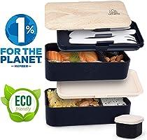 UMAMI® ⭐ Lunch Box Negra Bambú | Bento Box Con 2 Compartimientos Herméticos Y 3 Cubiertos Sólidos | Apto Para Microondas...