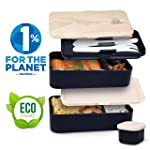 UMAMI® ⭐ Lunch Box Black Bamboo | 2-Compartment Hermetic Bento with 3 Piece Cutlery Set & Sauce Jar | Suitable for Adults...
