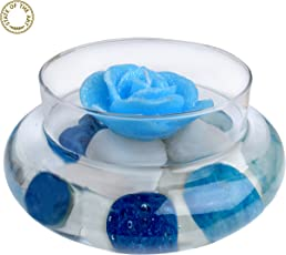 State Of The Art Alluring Glass Showpiece, With Floating Candle And, Blue & White , Glassware