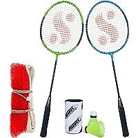 Silver's SB-100 Combo-6 (2 B/Rackets + 2 Pcs Plastic Shuttle + 1pc. Badminton Net Nylon) Green-Blue