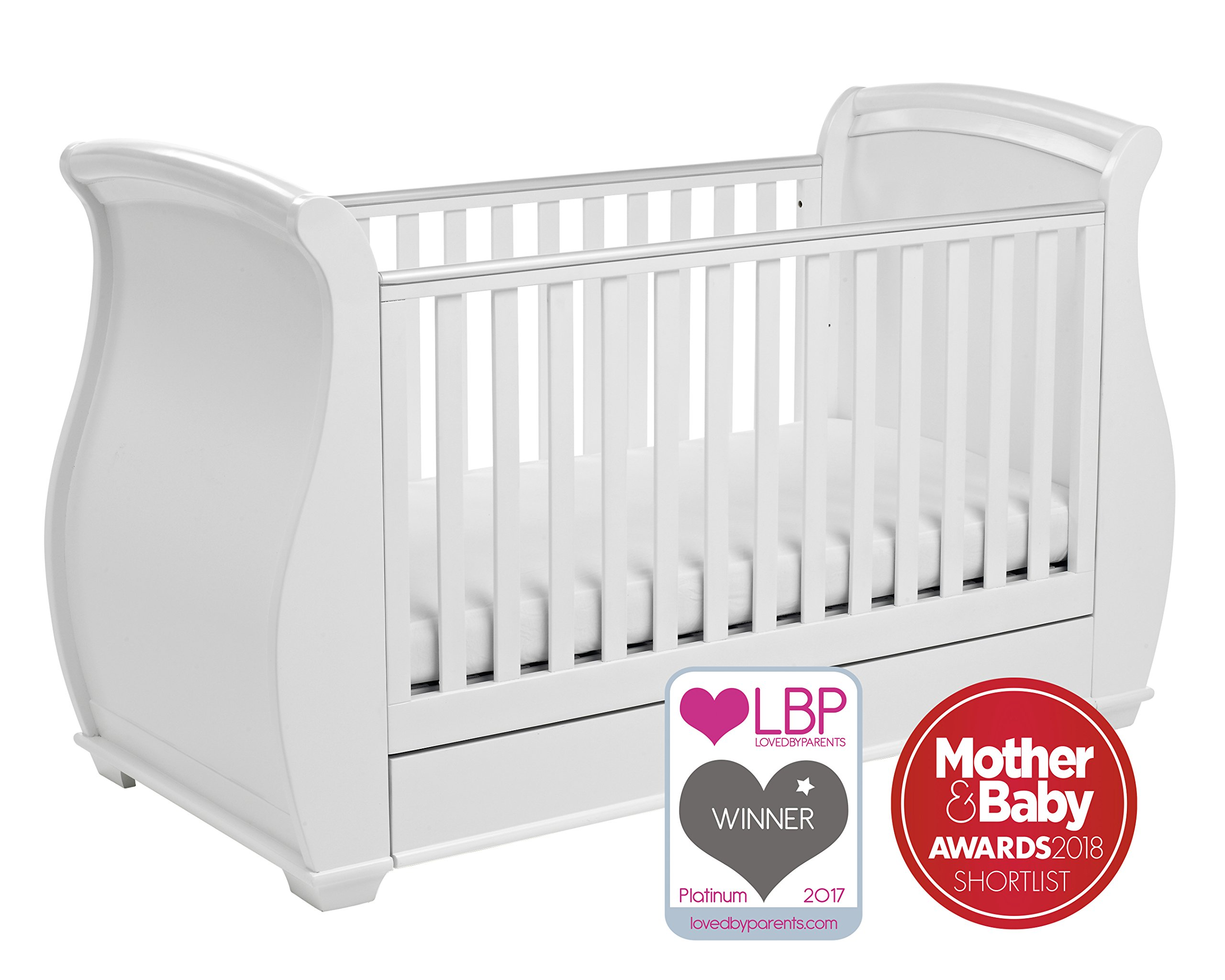 Babymore Bel Sleigh Cot Bed Dropside with Drawer (White)  Magnificent sleigh with appealing look of grandeur and solidity. Easily convert to junior bed/sofa/day bed, Meet British and European safety standards Single handed drop side mechanism allow easy access to your baby. 1