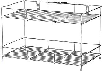 BHAKTEE Stainless Steel 2-Tier Multi Organizer (Metallic)