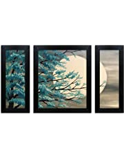 Home Attire HAP-1104 Night Moon Paintings- Set of 3 (6x14inch-2, 12X14inch -1)