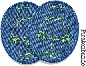Set 2 Knieflicken Jeans Legomännchen Patch Kinder Hosenflicken zum aufbügeln