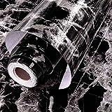 Fantasnight Sticky Back Plastic Black Marble Self Adhesive Vinyl Paper Peel and Stick Wallpaper 40 X 300 cm KitchenWorktop Vi