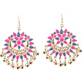 "Touchstone""Tribal Bohemian Chic"" Indian Bollywood Chand Moon Shape Meenakari Enamel Afghan Gorgeous Gypsy Designer Jewelry Ea"