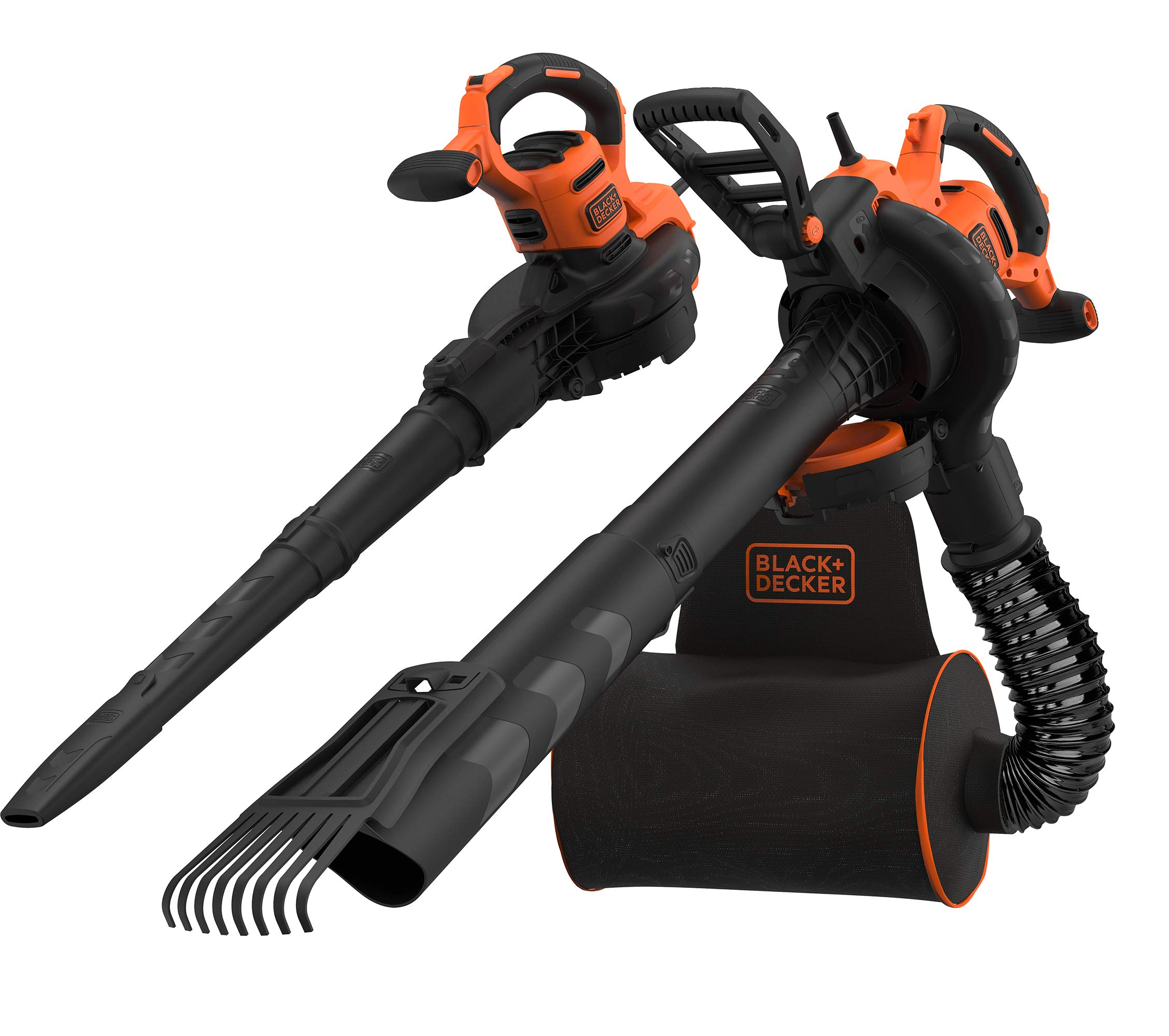 Black+Decker BEBLV301-QS Elektro-Laubsauger/Bläser/Häcksler, 72L Fangsack-Rucksack