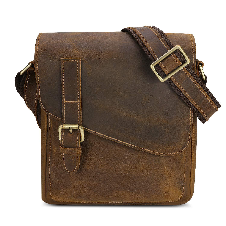 839839a6 Bolso de Mensajero de Cuero Vintage para Hombre Bolsa Bandolera o de Hombro  de Auténtica Piel Estilo Retro Marrón