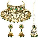 Peora Indian Ethnic Gold Plated Rani Padmavati Kundan Pearl Bridal Choker Necklace Earrings with Maang Tikka Traditional Jewe