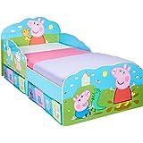 HelloHome Peppa Pig barnsäng med sängbord, trä, flerfärgad, 142 x 77 x 63 cm