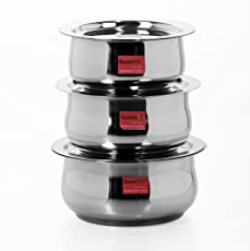 Sumeet 3 Pcs Stainless Steel Induction & Gas Stove Friendly Belly Shape Container Set / Tope / Cookware Set With Lids