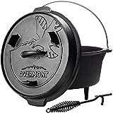 OVERMONT Dutch Oven Cocotte en Fonte [ Double Fonction: Couvercle et Plaque de Gril ] [ avec lève-Couvercle ] for Garden Barb