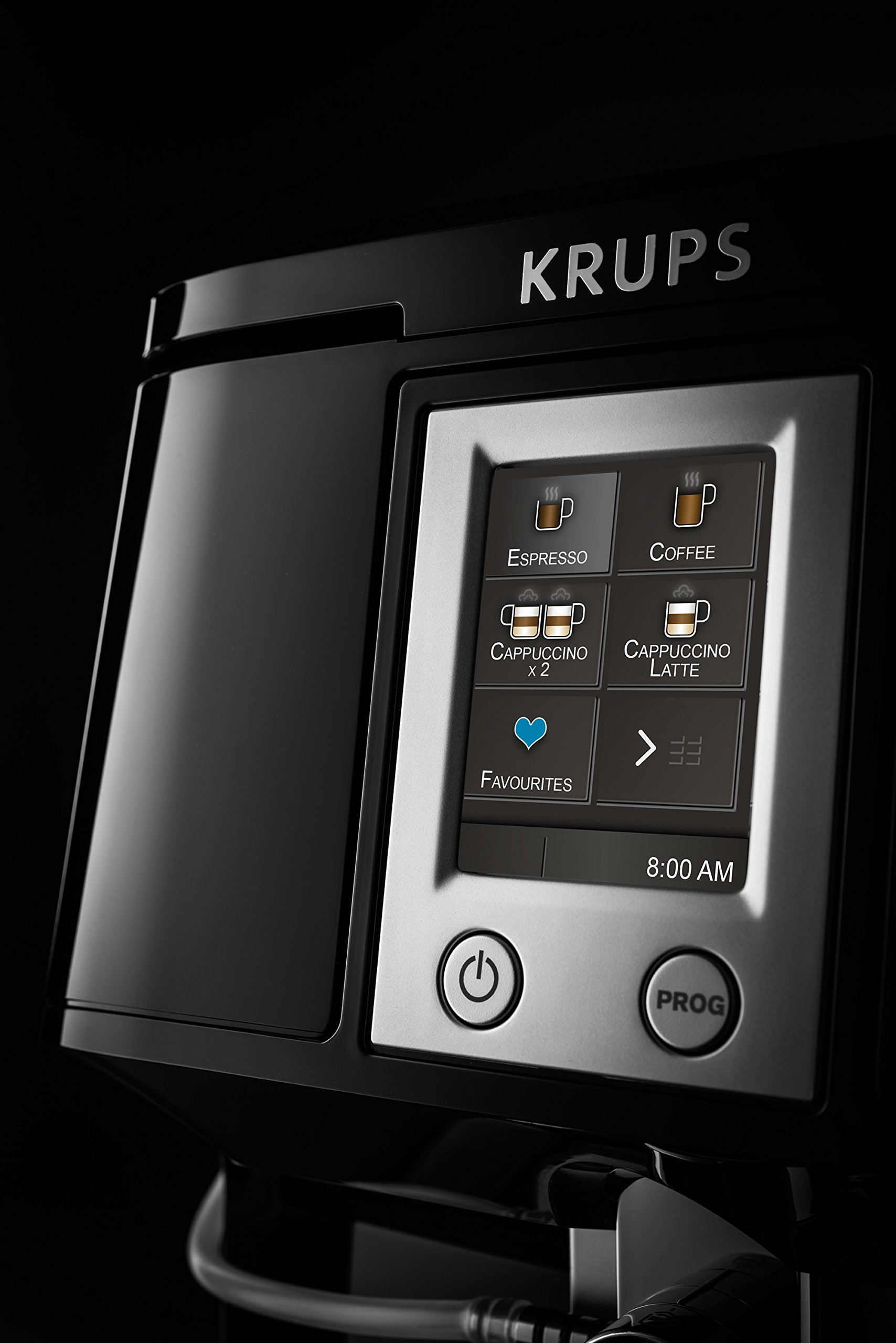 Krups-EA8808-Kaffeevollautomat-Two-in-One-Touch-Funktion-15-bar-Touchscreen-Farbdisplay-Edelstahl-Schwarz