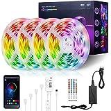 LED Strip 20m, FAUETI RGB LED Streifen Wasserdicht IP65, Farbwechsel LED Band mit App Bluetooth Kontroller, Sync zur Musik, A