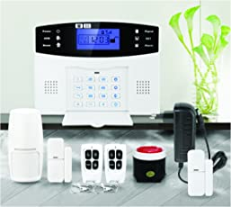 iBELL Gsm Home Security Alarm System with 2 Door Sensors, 1 Motion Sensor, 2 Remote & 1 Wired Siren (White)